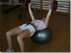bench press swiss ball