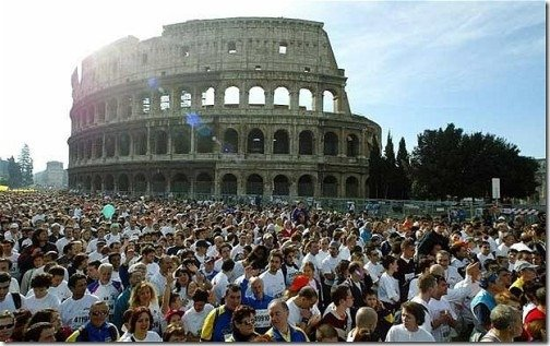 running next to Rome Coliseum
