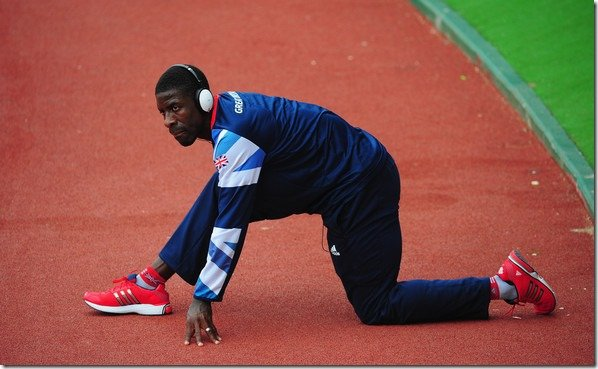 Dwain Chambers warming up