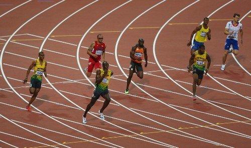 Usain+Bolt+Wallace+Spearmon+London Olympics