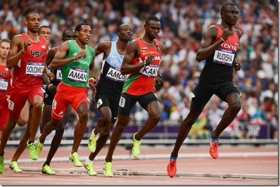 LONDON, ENGLAND - AUGUST 9, David Rudisha of Kenya sets a new world record in the mens 800m final during the evening session of athletics at the Olympic Stadium  on August 9, 2012 in London, England Photo by Roger Sedres / Gallo Images