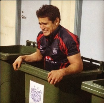 ice bath in garbage can