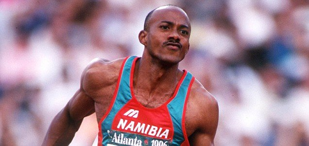 1996 Olympic Games, Atlanta, USA, Athletics, Men's 200 Metres Heat, Namibia's eventual silver medal winner Frankie Fredericks (Photo by Popperfoto/Getty Images)