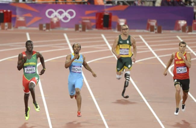 Oscar Pistorius during the men's 400 metres semifinal at the London 2012 Olympics